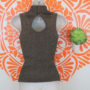 Cache Tops - Cache Brown Knit Beaded Tank Top Blouse